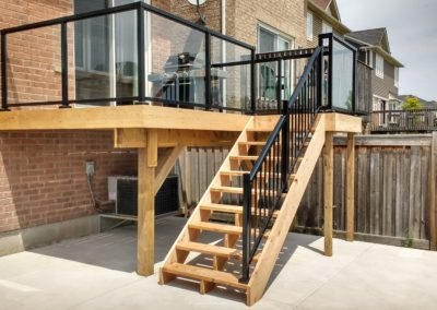 Custom Wood Deck Mississauga With Glass Railing (7)